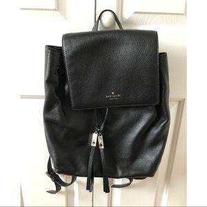 Kate Spade black leather backpack purse